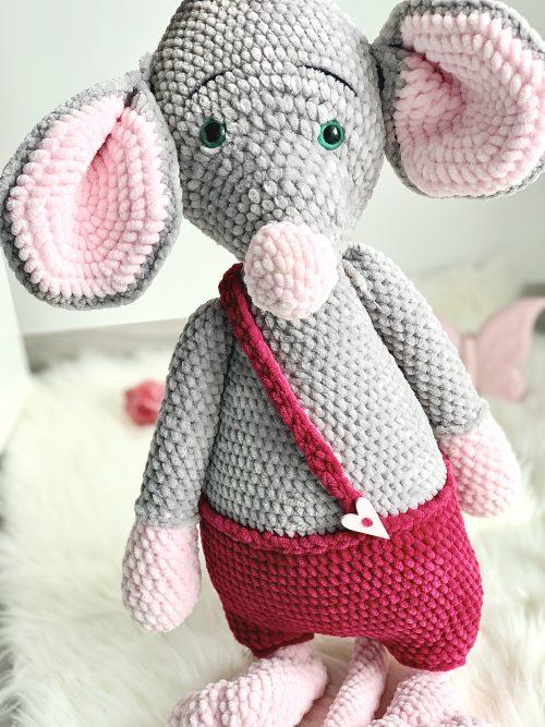 Mysz robiona na szydełku, zabawka dla dzieci