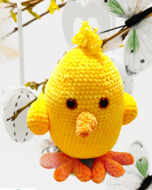 Wielkanocne Jajko – żółty kurczak, ręcznie robiony na szydełku, 20cm